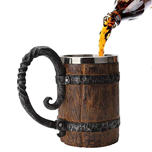 Hamkaw Jarra de Cerveza de Acero Inoxidable con Mango, 550ml Simulación Barril de Madera Jarra de Cerveza de Doble Capa Vaso para Beber, Copa de Vino de Whisky Personalizada para Hogar/Fiesta/Bar
