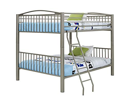 Powell Heavy Metal Bunk Bed, Twin-Over-Twin, Pewter
