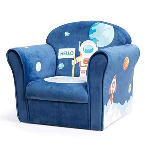 COSTWAY Kindersessel Astronaut Kindersofa Kindercouch Babysessel für Mädchen und Jungen Kindermöbel Kinder Sessel Schaumstoff (Blau)