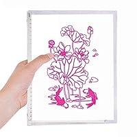 蓮の葉はハスの花ハス根魚水 硬質プラスチックルーズリーフノートノート