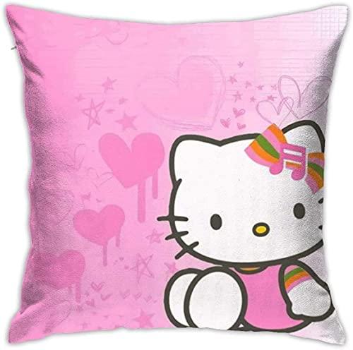 KINGAM Fundas de almohada decorativas suaves de Hello Kitty Hd Square Funda de cojín cómoda funda de almohada de lujo para sofá, cama, silla, coche, decoración del hogar (45 x 45 cm)