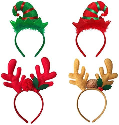RENFEIYUAN 4-Pack Weihnachtsstirnband Elf Stirnband-Geweih-Stirnband for Mädchen-Frauen-Weihnachtsfeiertags-Party-Dekoration weihnachtsmann mütze
