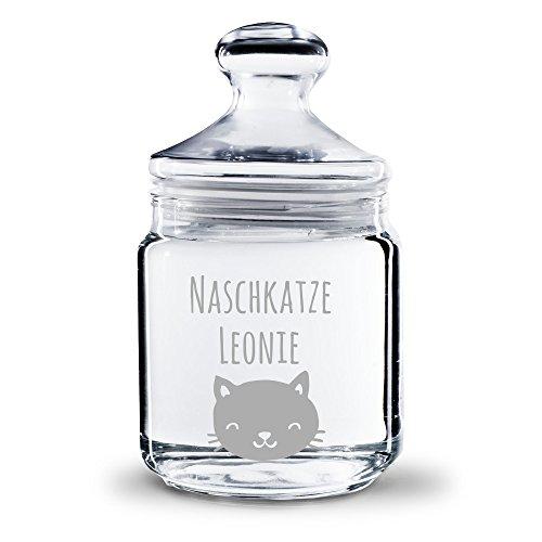 Personello® Graviertes Pralinenglas Naschkatze, personalisierbar mit Namen, originelle Geschenkidee für Beste Freundin, Tochter (17,5cm)