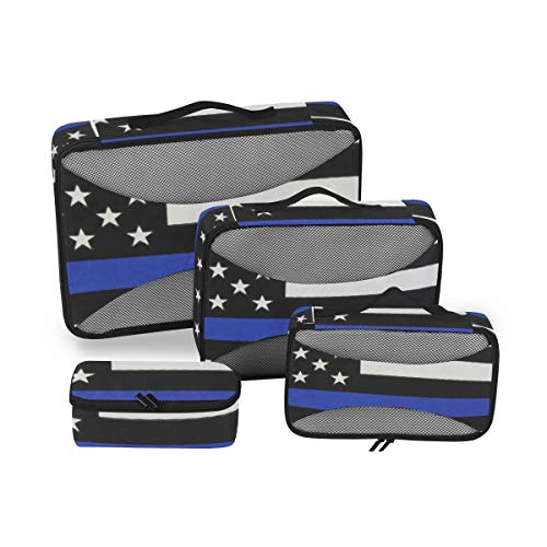 Thin Blue Line Flag 4pcs Toiletry Bag for Men and Women Travel Organizer for Makeup and Toiletries Case for Cosmetics and Toilet Accessories
