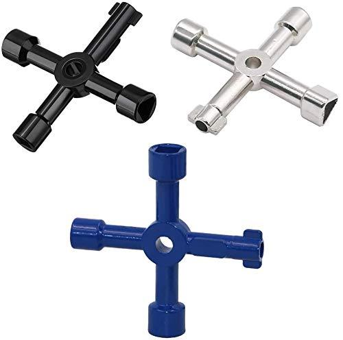BESTZY Llave de Utilidad Multifuncional Llave para Armarios Universal Cross Key 4 Vías Abrir Eléctrico Medidor de Gas y Agua Alacena Gabinete