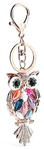 Llavero Llavero Rosa Oro Bolso Lindo Encanto Llavero Llavero de Coche con Anillos Llaves para Mujeres Regalos de niñas (Color : Owl)