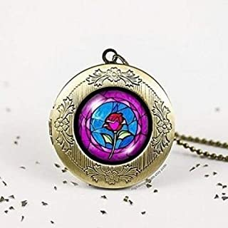 Rose in Glass Dome Bronze Vintage Locket Wish Photo Pendant Necklace Beauty and Beast Childhood Dream Princess ,best Gift