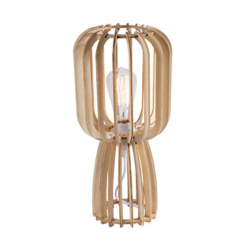 LUSSIOL Luminaire Goteborg, Lampe décorative bois, 60 W, naturel, ø 20 x H 40 cm