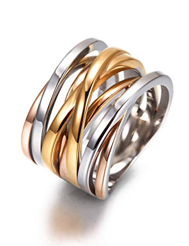 CIUNOFOR 13.7MM Cross Ring Enhancers for Women Statement Engagement Ring Silver Gold Rose Gold Plated Ring Engraving Customized Personalized (Multicolor 9)