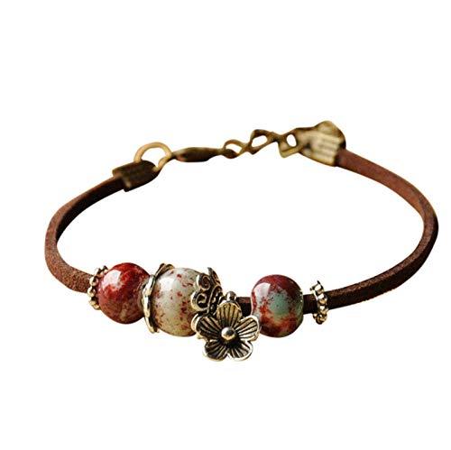 SDCAJA Bracelet for Women,Multicolor Beads Shape Metal Stitching Bracelet Valentine's Day Gift