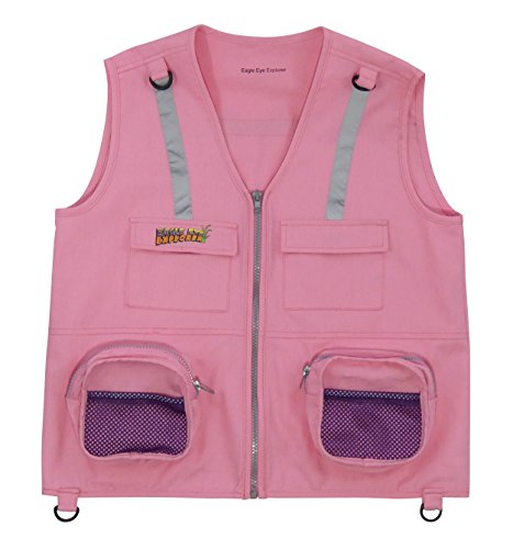 Eagle Eye Explorer Kids Cargo Vest for Boys and Girls with Reflective Safety Straps. 100% Cotton. Size: S/M Color: Pink