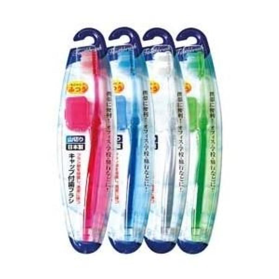 不満確立しますできるキャップ付歯ブラシ山切りカット(ふつう)日本製 【12個セット】 41-209