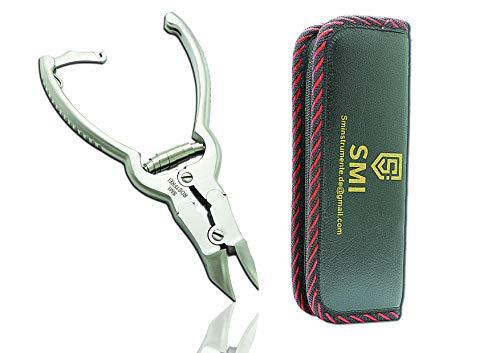SMI - 16 cm Kopfschneider Fussnagelzange Profi Edelstahl Nagelzange mit doppelter übersetzung, Nagelzange für Starke Fußnägel. mit etui