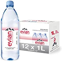 6-Pack evian 1 Liter Natural Spring Water, 33.8 Fl Oz