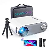 Mini Projector Bluetooth, 2021 Portable Projector WiFi 6000L HD 1080P Supported, Outdoor Projector Home Movie Projector Compatible with Type C/Android/iOS/HDMI/USB/SD/VGA[Bag & Tripod ]