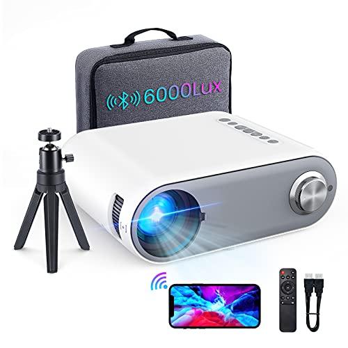 Beamer Full HD WiFi Bluetooth,6000 Lumen Mini Beamer Cube Unterstützung 1080P Full HD, Heimkino Beamer Projektor mit TV Stick/Type C/Android/iOS/HDMI/USB/VGA