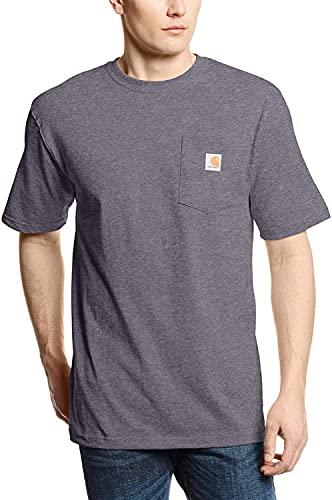Carhartt mens K87 Workwear Short Sleeve T-shirt (Regular and Big & Tall Sizes) work utility t shirts, Carbon Heather, Large US