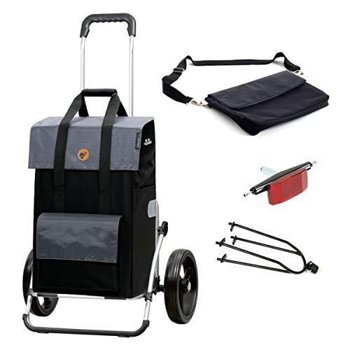 Andersen Einkaufstrolley Royal XXL mit Fahrrad-Anhängerkupplung und 43 Liter Einkaufstasche Vektor schwarz/grau mit Kühlfach, extra Laptoptasche