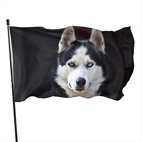LZHANDA Garten Flaggen Flagge Fahne, Garden Flag Husky Outdoor Yard Flag Wall Lawn Banner Home Flag Decoration 3' X 5'