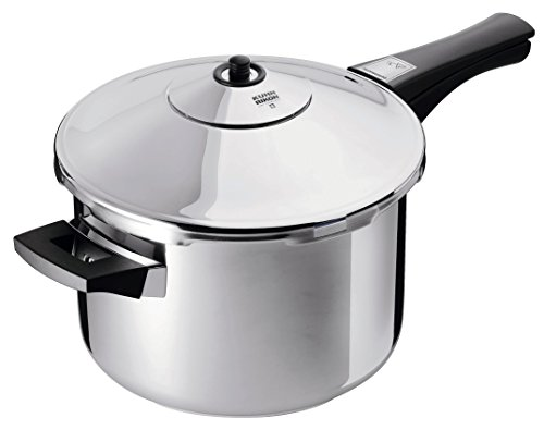 "Kuhn Rikon DUROMATIC Pressure Cooker 8.75"" 5.3 qt best seller family of 4 two handles for stability"