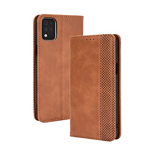 TOPOFU Leder Hülle für LG K42, Premium Flip Wallet Tasche mit Ständer & Kartenfächer, PU/TPU Magnetic Lederhülle Handyhülle Schutzhülle für LG K42 (Braun)