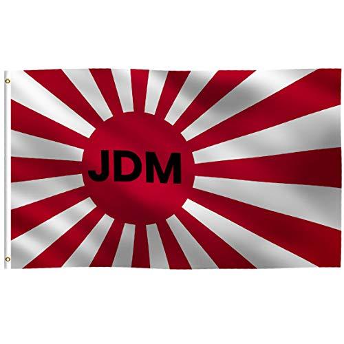 JDM Japanische Flagge mit aufsteigender Sonne: 100% Polyester, Starke Leinenkopf mit 2 Messingösen, UV-beständiger, lebendiger Digitaldruck, für den Innen- und Außenbereich