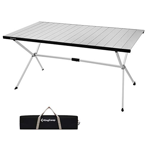 KingCamp Folding Camping Table Roll Up Aluminum Alloy Table top Porable Sturdy Table Collapsible Support Up to 80KGDesktop 12080cm