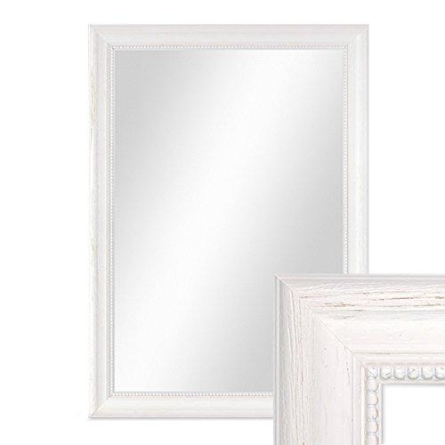 PHOTOLINI Wand-Spiegel 36x46 cm im Holzrahmen Landhaus-Stil Weiss/Spiegelfläche 30x40 cm