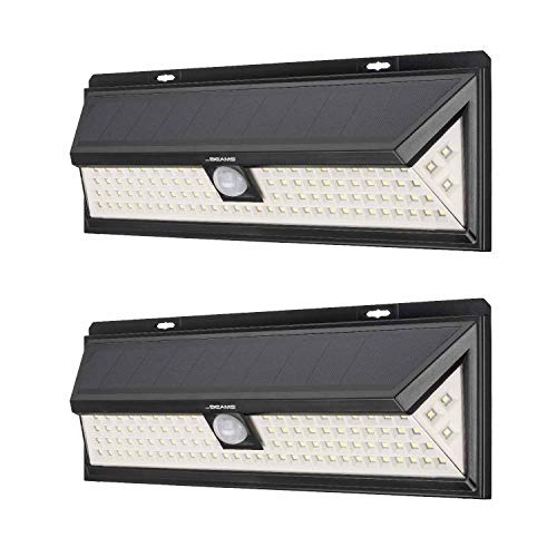 Mr Beams Solar Wedge Plus 102 LED Security Outdoor Motion Sensor Wall Light, 2 Pack, Black, 2 Count