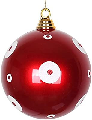 Vickerman Candy Apple Red with White Glitter Polka Dots Commercial Size Christmas Ball Ornament, 6""