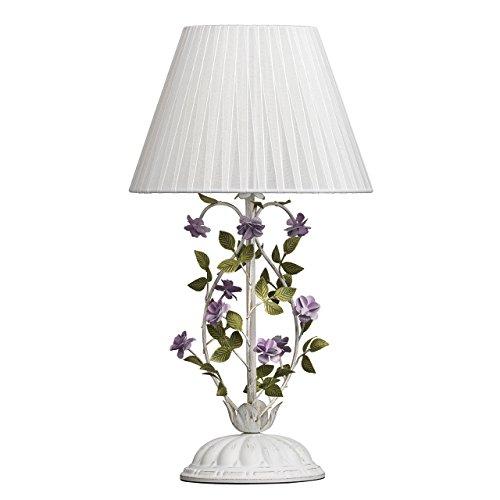 MW-Light 421034601 Tischlampe Florentiner Weiß Goldfarbige Metall Weiß Textilschirm Lila Grün Blumen Blätter 1 flammig E27 x 40W
