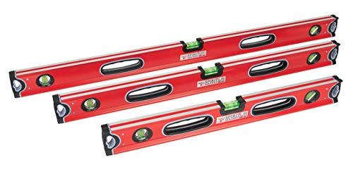 Profi Wasserwaagen-Set 3-teilig Rot 60, 80 und 100cm mit zwei stoßfesten Blocklibellen und stoßdämpfenden Gummiendkappen