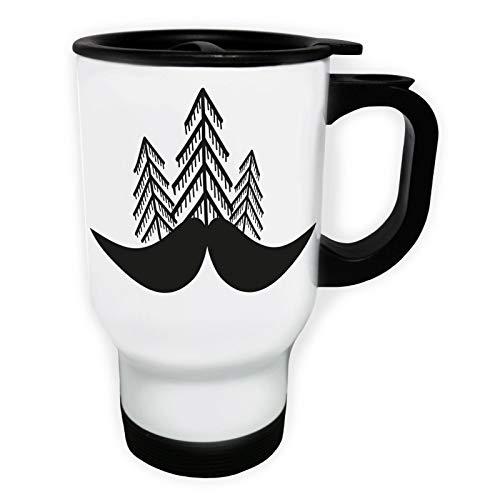 Pines and Moustache Tasse de voyage thermique blanche 14oz 400ml ff426tw