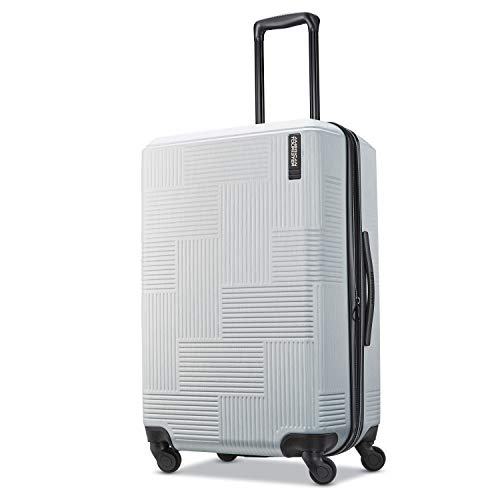 American Tourister Stratum XLT Expandable Hardside Luggage with Spinner Wheels, Bright Silver, Checked-Medium 25-Inch