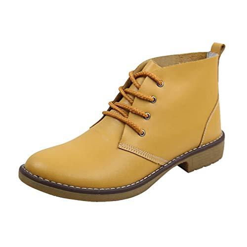 Leder Stiefe für Damen Retro Blockabsatz Stiefeletten Frauen Bequeme Schuhe Sohle Mode Herbst Winter Casual Boots Schuhe Stiefel Gelb/Orange/Blau/Schwarz