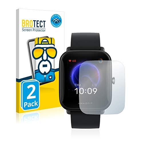 BROTECT Full-Cover Schutzfolie kompatibel mit Huami Amazfit Bip U Pro (2 Stück) - Full-Screen Displayschutz-Folie, 3D Curved, Kristall-Klar