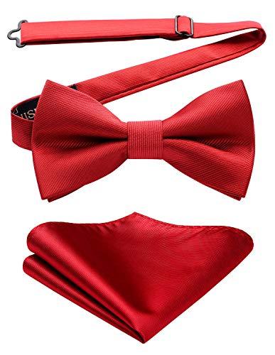 HISDERN rosso Papillon da Uomo e Fazzoletto da matrimonio - già annodato e regolabile formale classico business papillon set