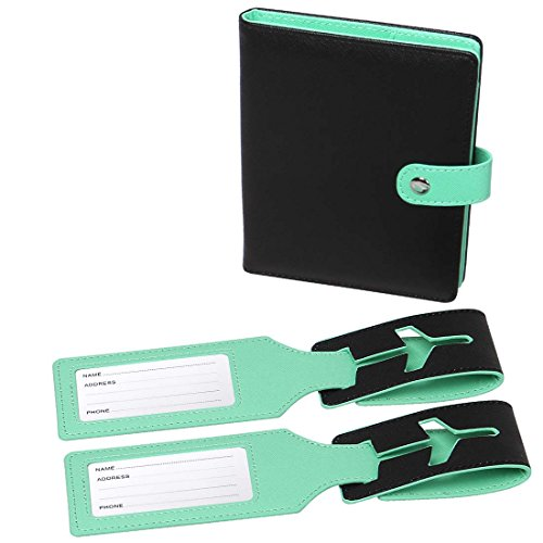 RoryTory-Custodia RFID protettiva per passaporto e targhetta del bagaglio, 2 pezzi, colori assortiti Noir Vert