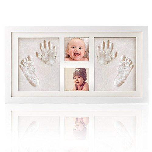 DIY Handabdruck und Fußabdruck Gipsabdruck Set, Hängend und Desktop Holz Bilderrahmen für Neugeborene, Baby Dusche oder Tauf Geschenk, Kinders Geburtstagsgeschenke (groß)