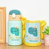 NYSJLONG Botella de Agua para niños 400Ml Taza Termo para niños con Paja Frascos de vacío de Dibujos Animados de Acero Inoxidable Niños Botella de Agua Termal Linda Vaso Thermocup