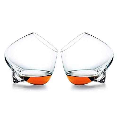 WJJ Whiskey Karaffe Whiskygläser, Altertümlich Kristallglas Trinkgläser for Das Trinken Scotch, Bourbon, Irisch, Bier, Cocktails Weinglas Trinkbecher, Set 2, 520ml Whiskyflaschenregal