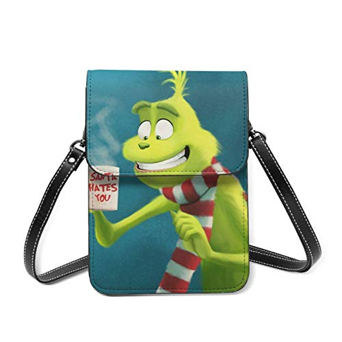 XCNGG Kleine Geldbörse Cartoon Coffee Time G-rinch Cell Phone Purse Small Crossbody Bag Women Leather Mini Cell Phone Pouch Shoulder Bag to Carry Dexterous Convenience with Adjustable Strap Wallets
