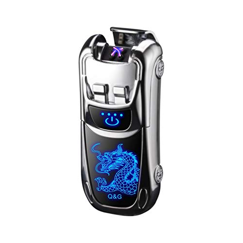 Dual Arc Lighter Double Arc Plasma Lighter USB Rechargeable Windproof Flameless Electronic No Gas Lighters Good for Cigar Candle Cigarette (Silver Dragon)