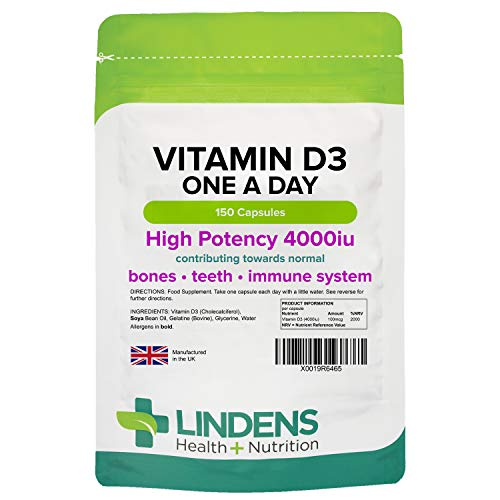 Lindens Vitamin D3 4000IU High Strength Capsules 150 Pack - UK Manufacturer, Letterbox Friendly