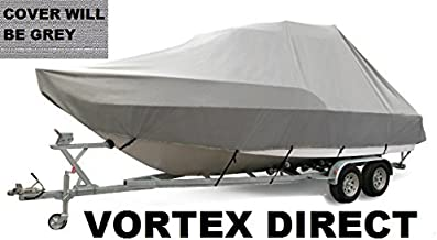 VORTEX HEAVY DUTY GREY / GRAY T-TOP CENTER CONSOLE BOAT COVER FOR 27' - 28' BOAT (FAST SHIPPING - 1 TO 4 BUSINESS DAY DELIVERY)