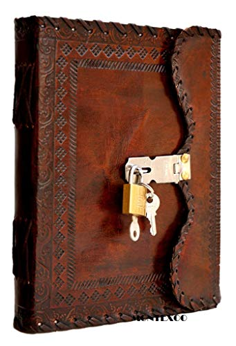 Large Leather Bound Journal Diary Notebook With Lock Vintage Blank Pages Handmade Book Gift for Him her