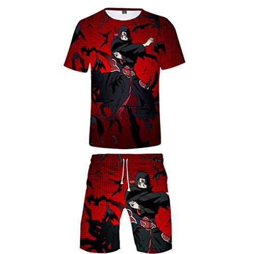 Memoryee 3D Anime Naruto Druck 2 Stücke Set Männer Sommer Beiläufig Mode Kurzarm Hemden und Kurze Hose Trainingsanzug Outfit Strand Straße Sportkleidung
