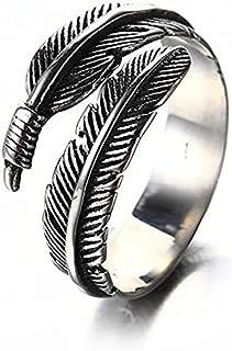 الرجال النساء الفولاذ المقاوم للصدأ خاتم خمر ريشة التفاف