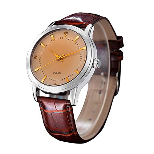 Stijlvol klassiek koppelhorloge, minimalistisch analoog quartzhorloge, heren- en dameshorloge met leren band,Brown,single