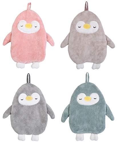 Kinder Handtuch für Mädchen und Jungen, Tier Handtücher 4er Set, niedlicher Pinguin, Cute handtowel jmia